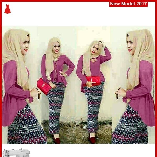 MSF0097 Model Hijab Peplum Firdza Tribal Magenta BMG