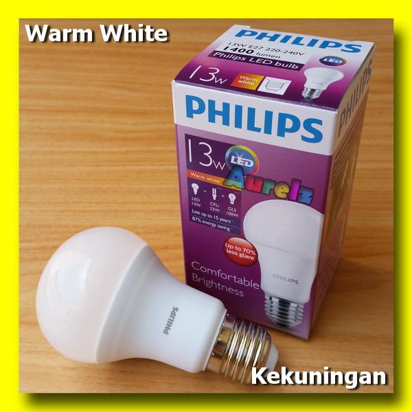 lampu led philips 13 watt warm white