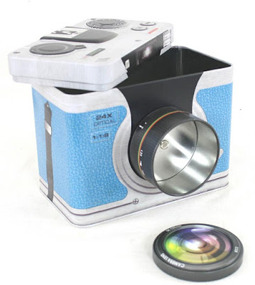 Vintage Style Camera Shaped Storage Tin