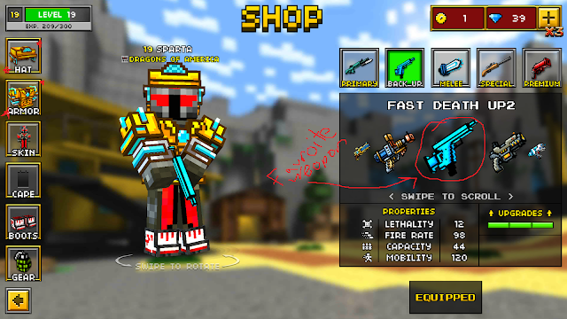 Pixel Gun 3D weapons, armor, skins, and gear shop