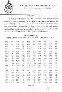 HPSC College Cadre result
