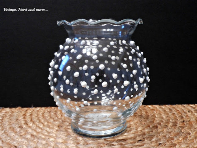 Vintage, Paint and more... using puffy paint to make dots for DIY hobnail glass