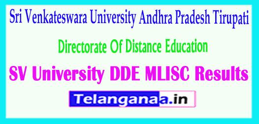 SV University DDE MLISC 2018 Results Sri Venkateswara University 2018 DDE MLISC Results