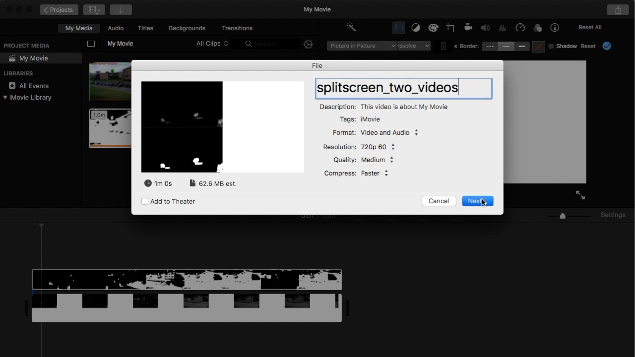 Make a split screen movie with iMovie and OpenShot (Mac)