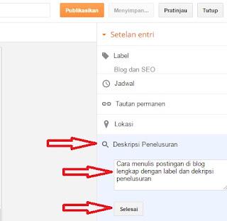 Cara menambahkan deskripsi penelusuran pada postingan blog