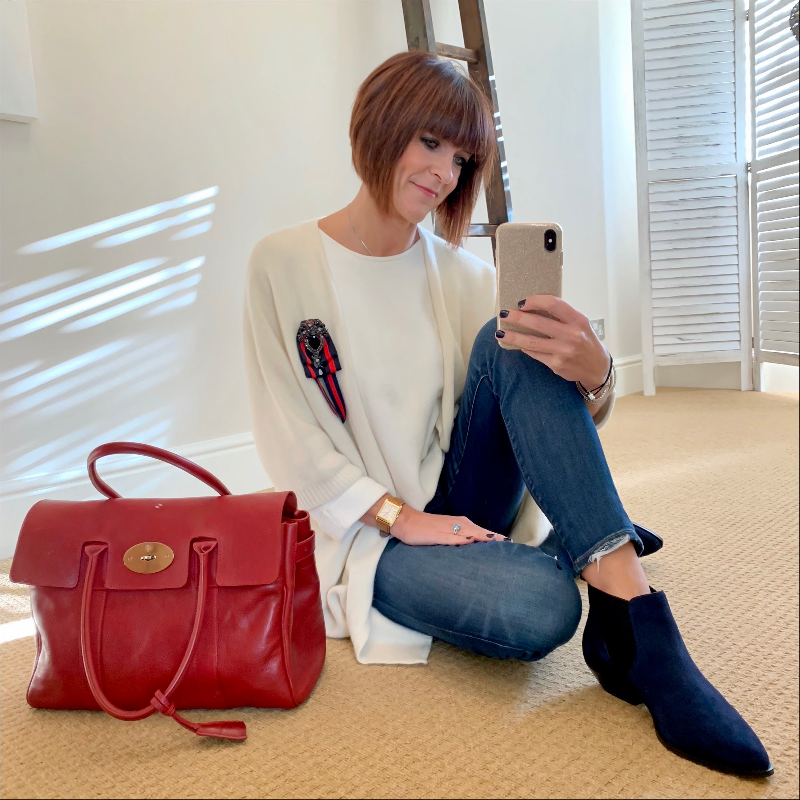 my midlife fashion, italy in cashmere duster cardigan, massimo dutti oversized jumper, j crew 8 inch toothpick skinny jeans, mulberry bayswater bag, marks and spencer suede western ankle boots