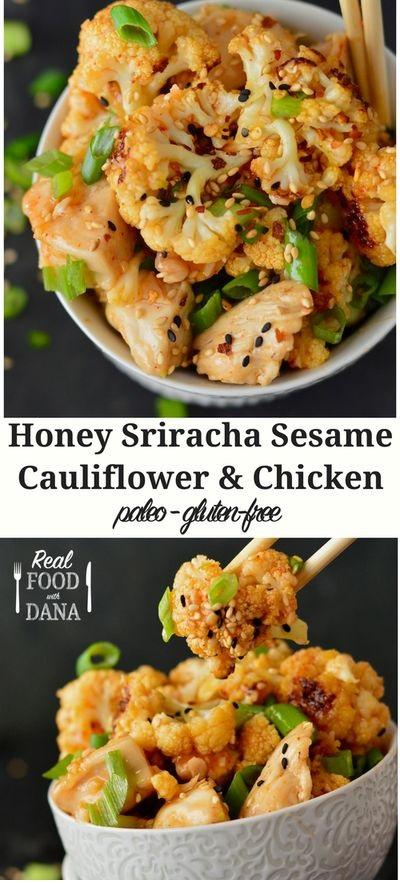 Honey Sriracha Sesame Cauliflower & Chicken