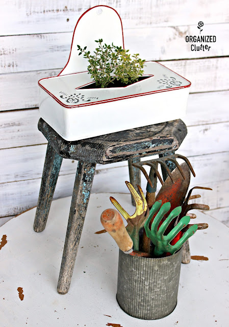 Enamelware Tissue Holder/Herb Planter organizedclutter.net