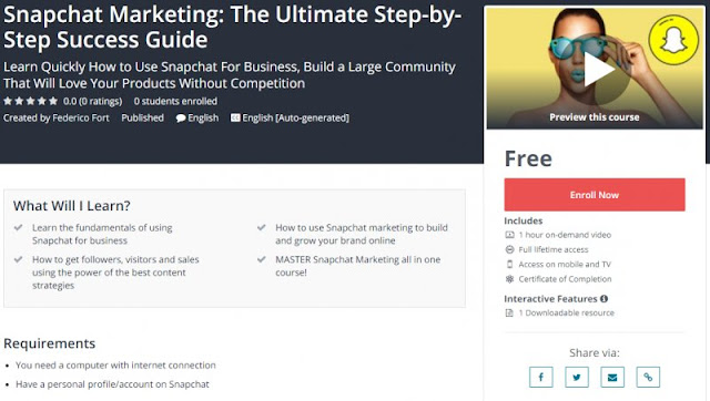 [100% Free] Snapchat Marketing: The Ultimate Step-by-Step Success Guide