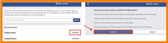 how to unblock someone on facebook iphone