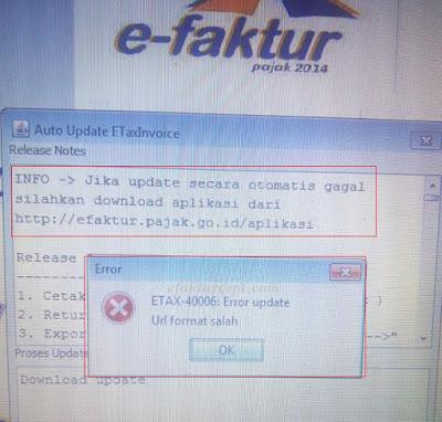 e-Faktur Error ETAX-40006 Error Update URL Format Salah