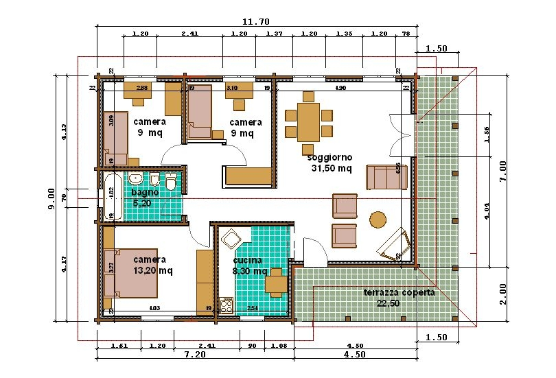 Progetti di case in legno alessandra 96 mq porticato 22 mq for Progetti case interni
