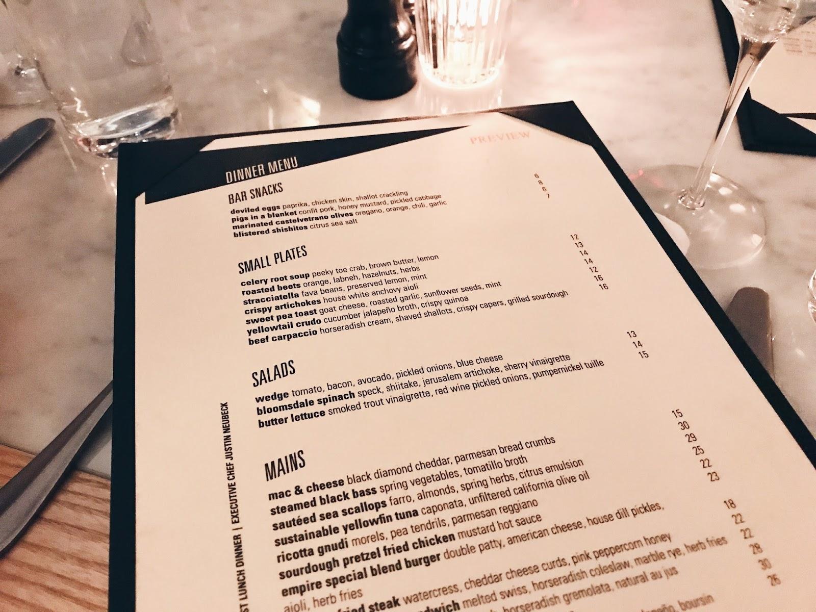 Empire Diner menu | New York