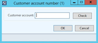 Pop up with field to enter new customer account number in AX