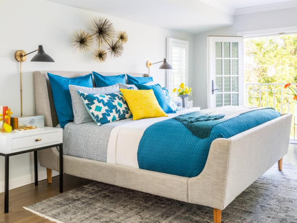 The Master Bedroom Is Soooo Sophisticated In Teal U0026 Gray With Small Pops Of  Yellow.