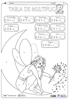 Resultado de imagen de fichas tabla del 2