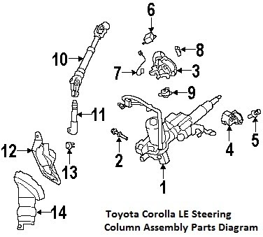 Part Diagrams  Toyota Corolla 2009 Steering Column Diagrams