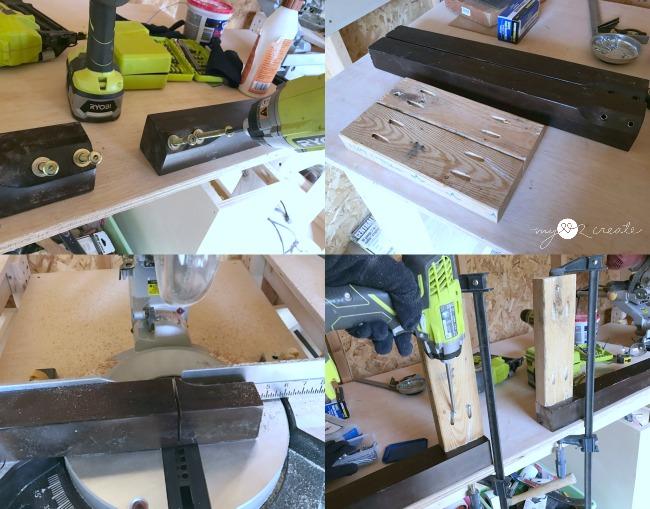 repurposing old table legs into bench legs