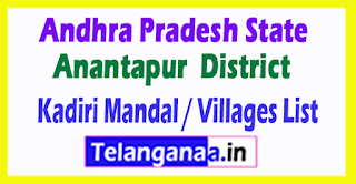 Kadiri Mandal Villages Codes Anantapur District Andhra Pradesh State India