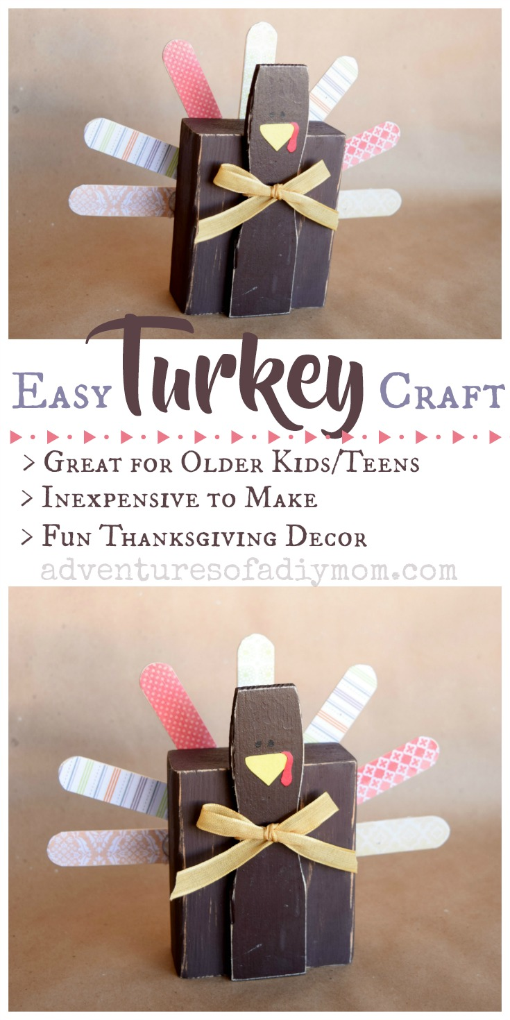 Easy turkey craft for thanksgiving decor adventures of a for Crafts for older adults