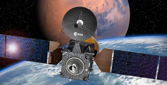 Artist's impression depicting the ExoMars 2016 entry, descent and landing demonstrator module, named Schiaparelli, on the Trace Gas Orbiter, and heading for Mars. Credit: ESA–David Ducros