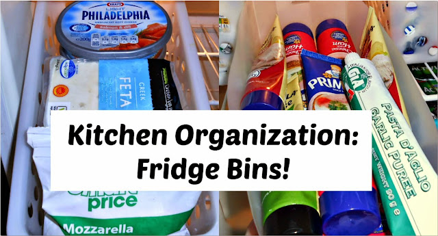 Kitchen Organization Using Refrigerator Bins