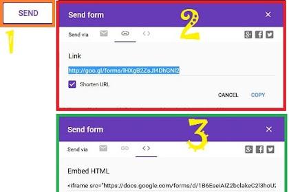 Cara Membagikan Link Soal Google Forms dan Meletakkannya Pada Posting dan Gadget Blog