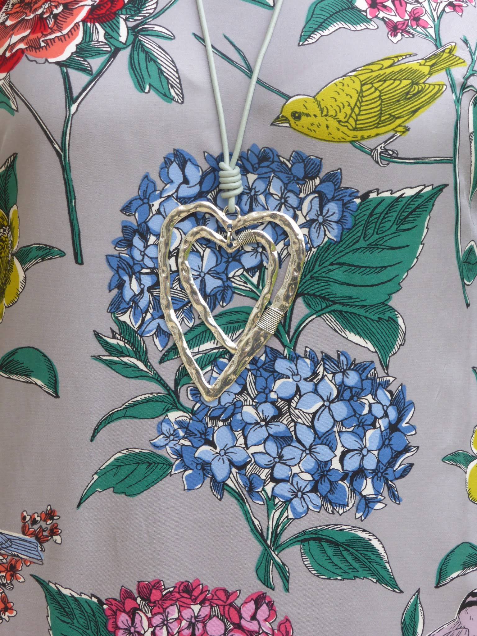 Boden Eliza dress with large silver heart pendant