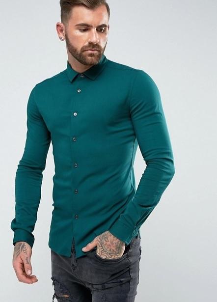 ekstra dar kesim yeşil gömlek kombini