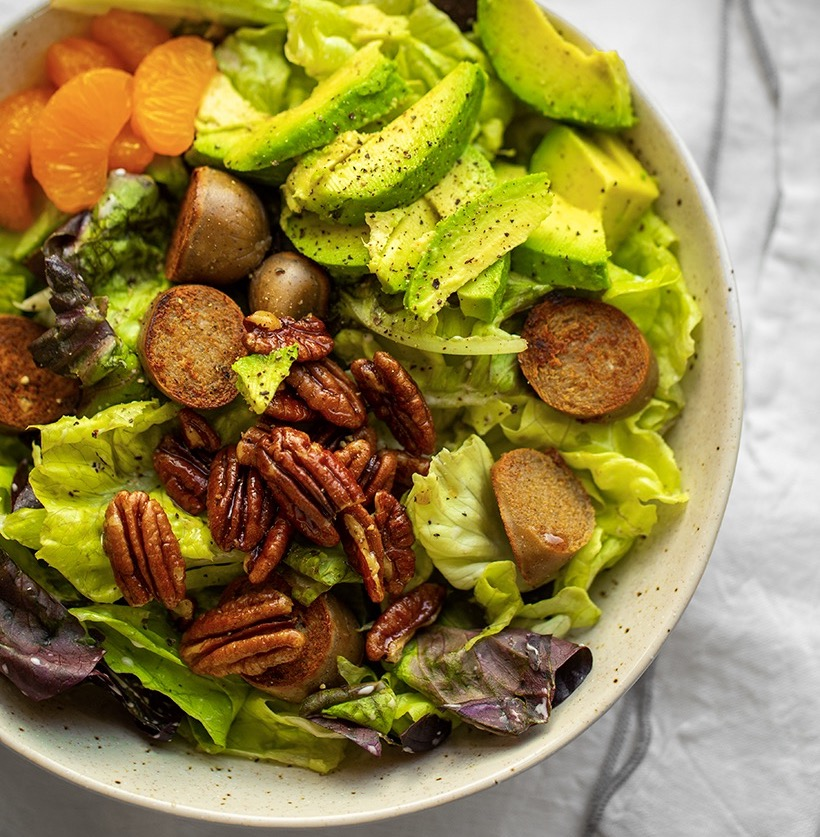 Avocado Candied Nut Beer Brat Salad