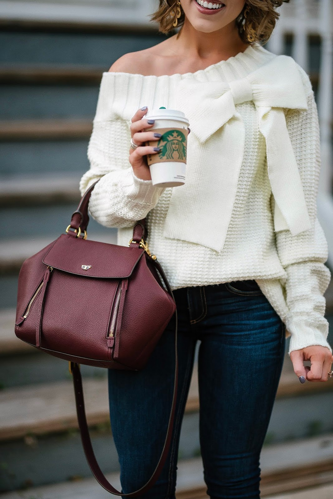 Fall Style: Under $100 Big Bow Sweater, Tory Burch Half Moon Satchel and Leopard Booties - Something Delightful Blog