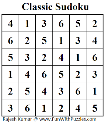 Classic Sudoku (Mini Sudoku Series #36) Solution