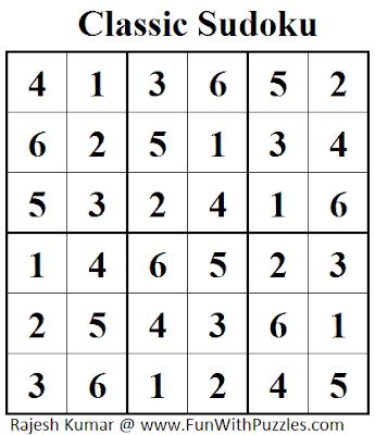 Classic Sudoku (Mini Sudoku Series #36) Solution