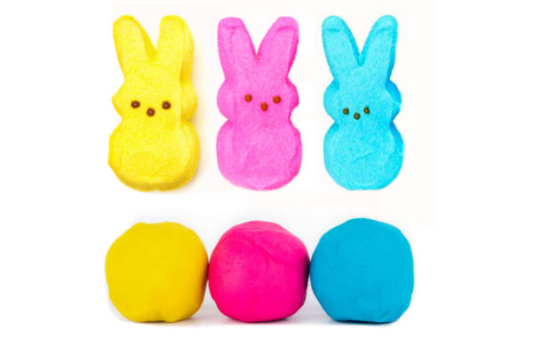 EASTER FUN FOR KIDS: Make play dough from PEEPS candy. This easy recipe is taste-safe, making if great for kids of all ages!  Why not turn some of that Easter candy into fun? #peeps #peepsplaydough #playdoughrecipe #peepsplaydoughrecipe #peepsrecipes #peepscrafts #easterplaydough #kidseastercrafts #easteractivitieskids #tastesafeplaydough #growingajeweledrose