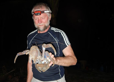 Nigel Foster photo, Torleif holds coconut crab, Misool, Raja Ampat