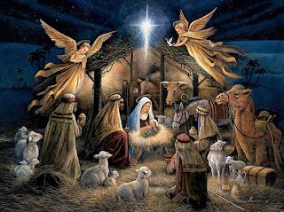 Πίνακας με θέμα τη γέννηση του Χριστού στη φάτνη.