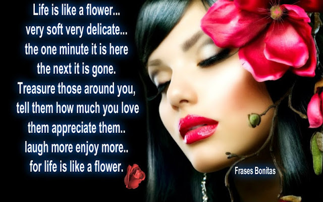 Life is like a flower...very soft very delicate...the one minute it is here the next it is gone. Treasure those around you, tell them how much you love them appreciate them..laugh more enjoy more..for life is like a flower.