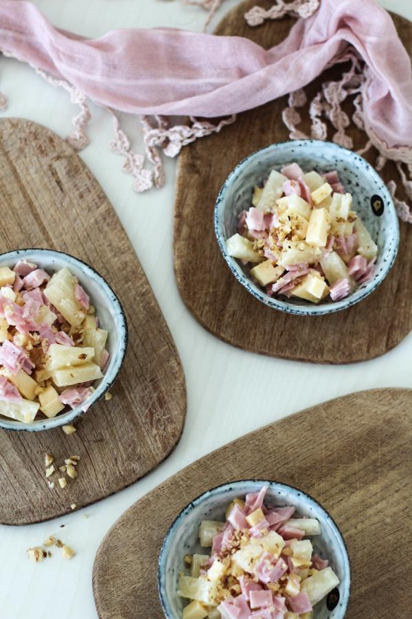 schneller Ananas-Käse-Schinken-Salat, Grillparty-Food,