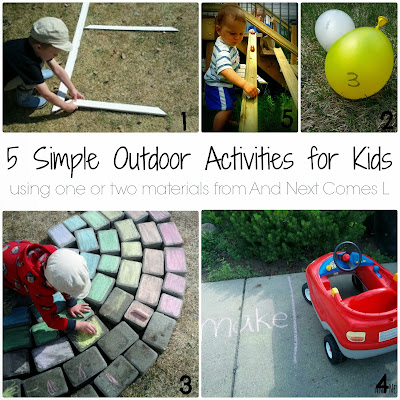 5 simple outdoor activities for kids that use one or two materials from And Next Comes L