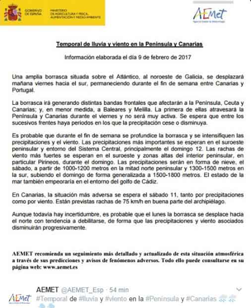 Comunicado AEMET  temporal Canarias 11 febrero