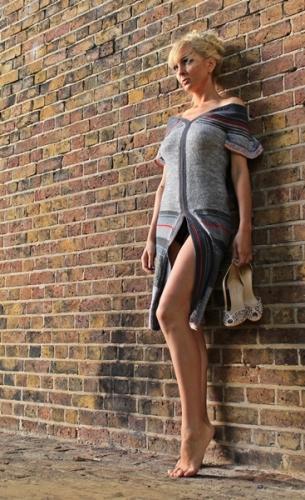 sukienka na drutach i szydelkiem