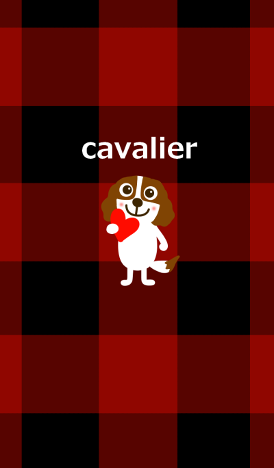 Cavalier dog and check pattern