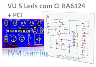 VU Meter 5 Leds com BA6124 - Bargraph + PCI