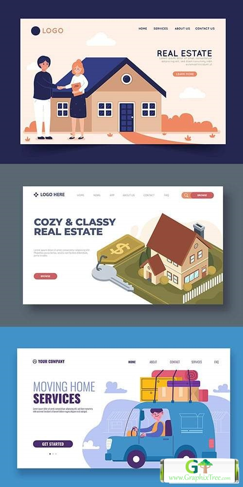 House moving services and Isometric real estate landing page