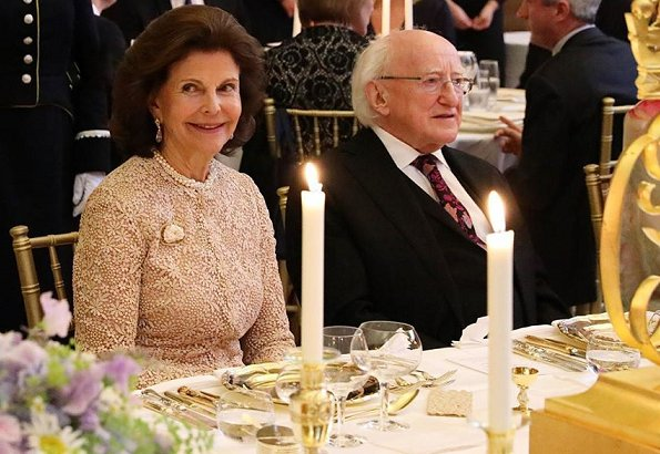 dinner at Trinity College Dublin in honour of Irish President Michael D. Higgins and his wife Sabina Coyne