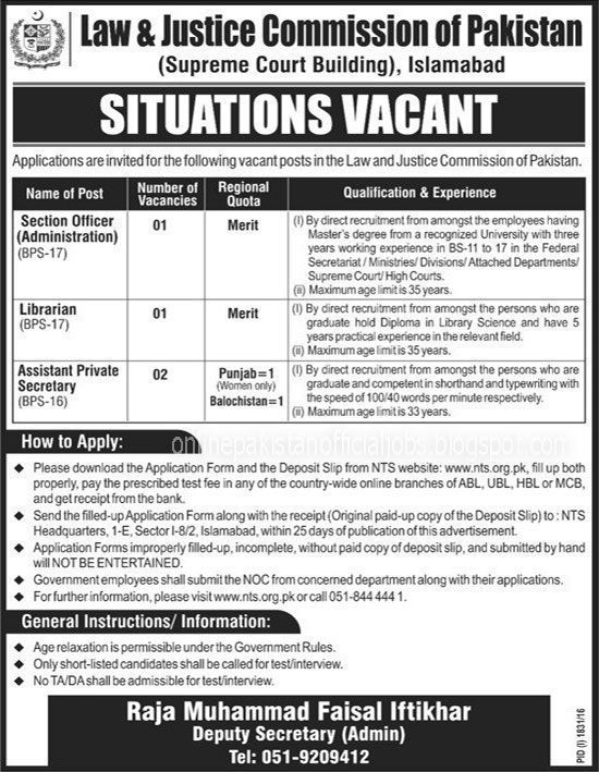 Law & Justice Commission of Islamabad Jobs