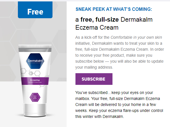 Dermakalm Email Newsletter Offers Free Full Size Product