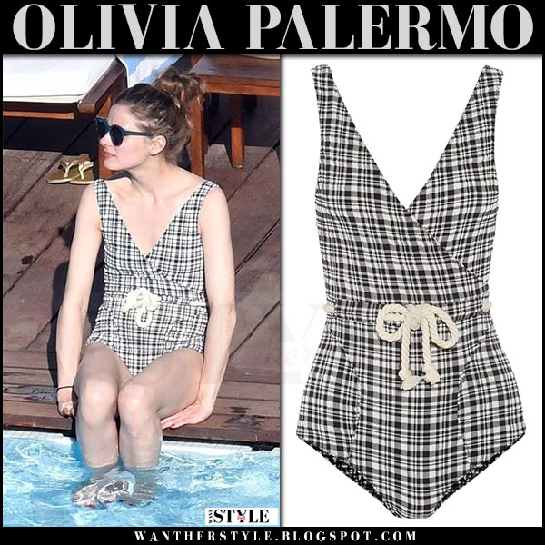 Olivia Palermo in black white gingham print swimsuit Lisa Marie Fernandez what she wore july 2017 italy
