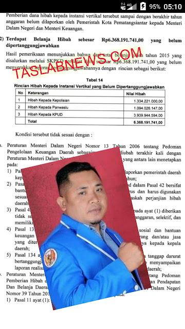 Ketua KNPI Siantar Ilal Nasution dan lembaran buku hasil audit BPK.