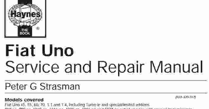 Fiat Uno Service Manual  Wiring Diagram Service Manual PDF